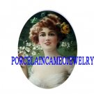VICTORIAN LADY WITH ROSE APPLE BLOSSOMS* UNSET CAMEO PORCELAIN CABOCHON