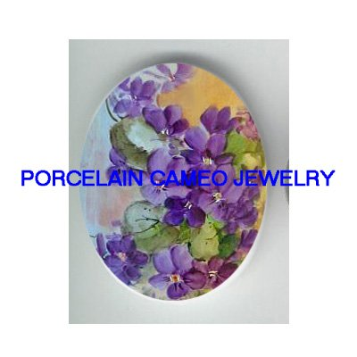 ROCOCO PURPLE AFRICAN VIOLET UNSET CAMEO PORCELAIN