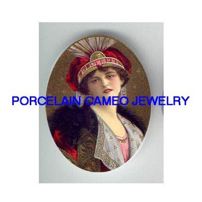 ART DECO RED HAT FLAPPER LADY UNSET CAMEO PORCELAIN