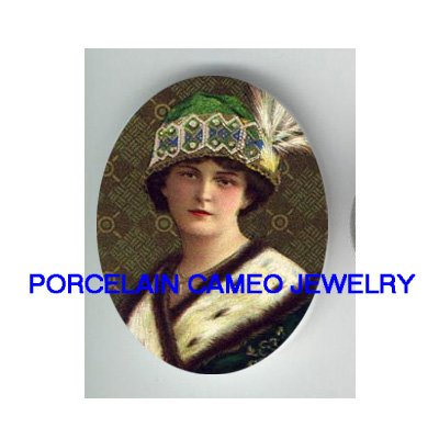 ART DECO GREEN HAT FLAPPER LADY  * UNSET CAMEO PORCELAIN CABOCHON