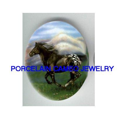 BLACK APPALOOSA HORSE RUN UNSET PORCELAIN CAMEO CABO