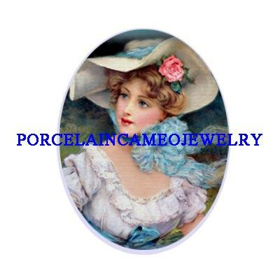 : VICTORIAN LADY ROSE HAT UNSET CAMEO PORCELAIN 18X25MM