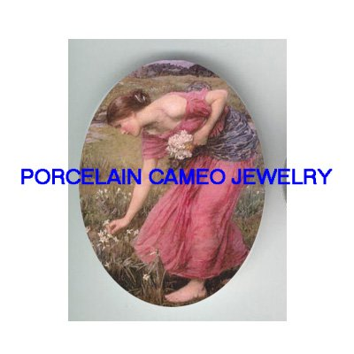PINK DRESS LADY PICK FLOWER UNSET PORCELAIN CAMEO CABO
