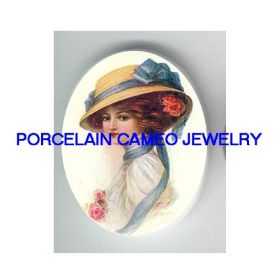VICTORIAN LADY ROSE BLUE RIBBON HAT* UNSET CAMEO PORCELAIN CABOCHON
