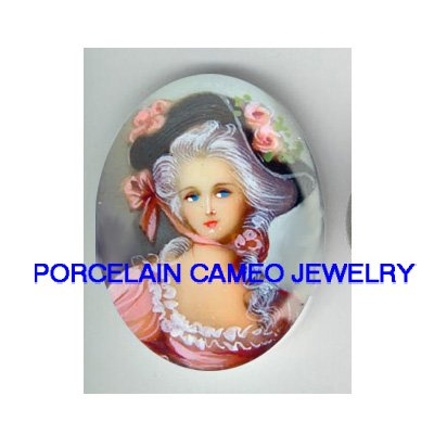 marie antoinette WITH PINK ROSE HAT* UNSET CAMEO PORCELAIN CABOCHON