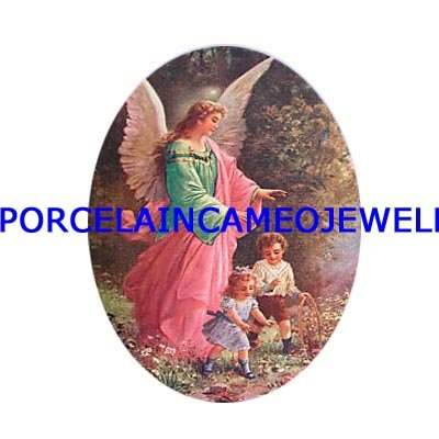 GUARDIAN ANGEL CHILDREN UNSET PORCELAIN CAMEO CABOCHON
