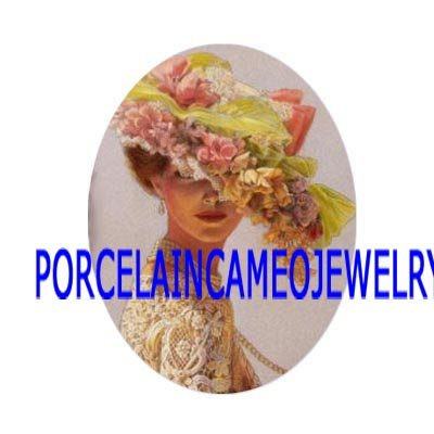 VICTORIAN LADY WITH FLOWER HAT * UNSET CAMEO PORCELAIN CABOCHON