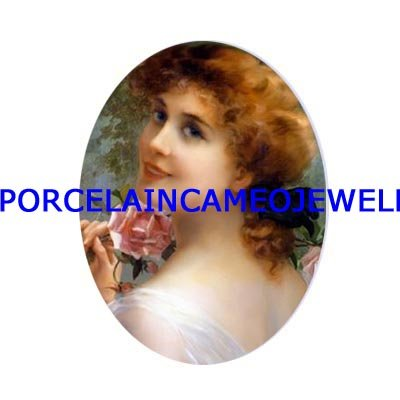 SMILING VICTORIAN LADY WITH ROSE UNSET CAMEO PORCELAIN CABOCHON