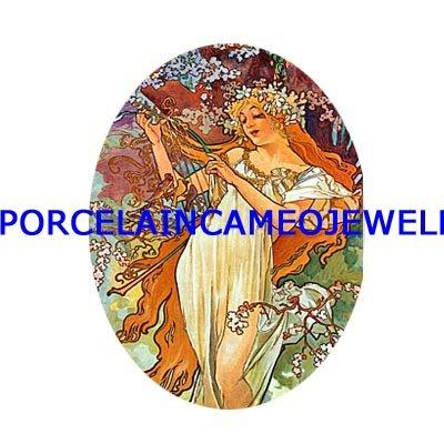 ALPHONSE MUCHA SPRING FLOWER LADY UNSET CAMEO PORCELAIN CABOCHON