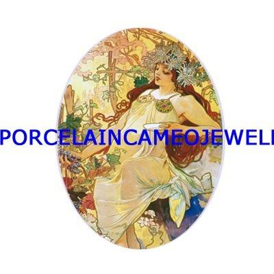 ALPHONSE MUCHA  FLOWER LADY UNSET CAMEO PORCELAIN CABOCHON
