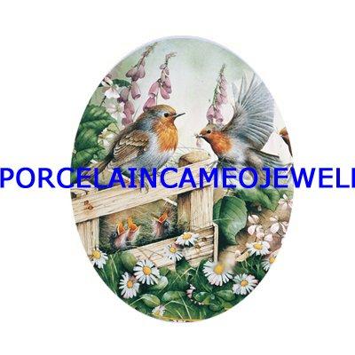 5 ROBIN BIRD FAMILY BABY DAISY UNSET CAMEO PORCELAIN