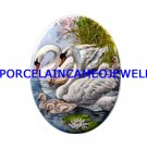 4 SWAM FAMILY WATER LILY UNSET CAMEO PORCELAIN CABOCHON