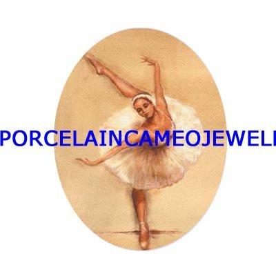 PINK BALLERINA DANCING UNSET CAMEO PORCELAIN CABOCHON