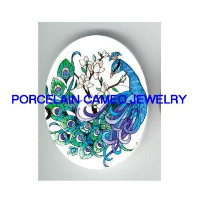 BLUE PEACOCK DOGWOOD UNSET CAMEO PORCELAIN CABOCHON