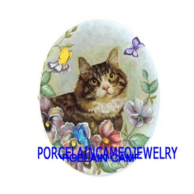 TABBY KITTY CAT PANSY BUTTERFLY UNSET PORCELAIN CAMEO