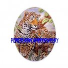 LEOPARD MOM BABY CUB IN THE TREE UNSET PORCELAIN CAMEO