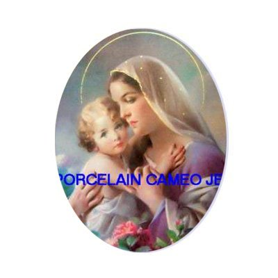 MADONNA AND CHILD ROSE UNSET PORCELAIN CAMEO CABOCHON
