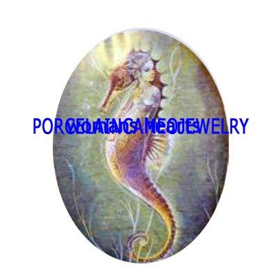 SEAHORSE PRINCESS UNSET CAMEO PORCELAIN CABOCHON 30X40