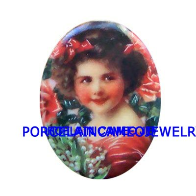 VICTORIAN LILY OF THE VALLEY GIRL* UNSET CAMEO PORCELAIN CABOCHON