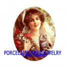 VICTORIAN POPPY LADY KITTY CAT UNSET CAMEO PORCELAIN CABOCHON