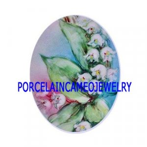 RARE LILY OF THE VALLEY UNSET PORCLAIN CAMEO CABOCHON