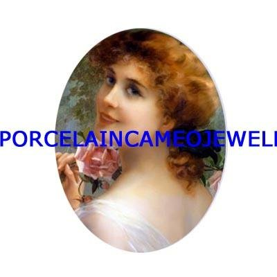 SMILING VICTORIAN  LADY WITH ROSE UNSET CAMEO PORCELAIN