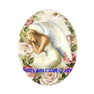 SLEEPING ANGEL ROSE UNSET CAMEO PORCELAIN CABOCHON