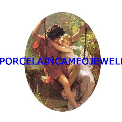 RENAISSANCE YOUNG COUPLE ON SWING * UNSET CAMEO PORCELAIN CABOCHON