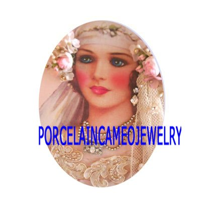 VINTAGE PINK BRIDE WITH ROSE* UNSET CAMEO PORCELAIN CABOCHON