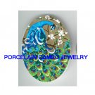 BLUE PEACOCK WITH DOGWOOD* UNSET CAMEO PORCELAIN CABOCHON