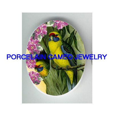 2 PARAKEET BUGIE BIRD CHERRY BLOSSOMS PORRCELAIN CAMEO