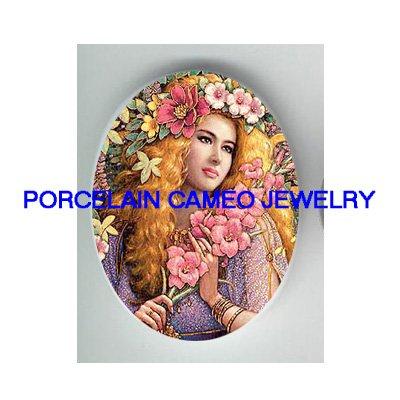 : GODDESS OF SPRING FLOWER LADY UNSET CAMEO PORCELAIN