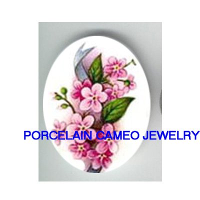 PINK FORGET ME NOT FLOWER UNSET PORCLAIN CAMEO CABOCHON