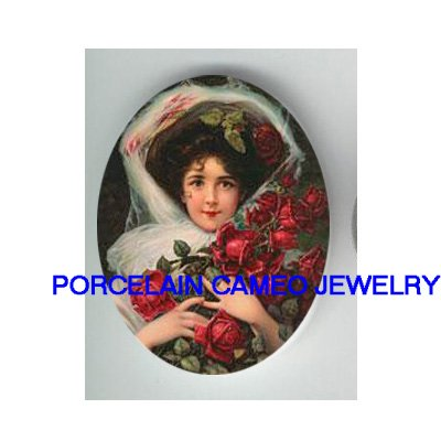 VICTORIAN LADY HOLDING ROSE UNSET CAMEO PORCELAIN CABO