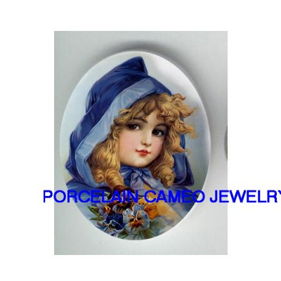 VICTORIAN GIRL BLUE HOOD PANSY PORCELAIN CAMEO CABO
