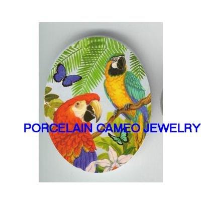 2 MACAW PARROT BIRD BUTTERFLY CAMEO PORCELAIN 18x25MM