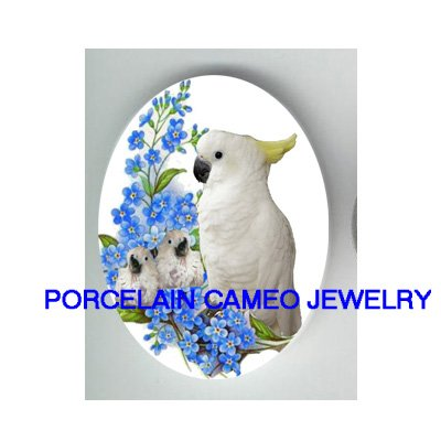 3 COCKATOO BIRD FAMILY MOM AND 2 BABY FORGET ME NOT * UNSET CAMEO PORCELAIN CABOCHON