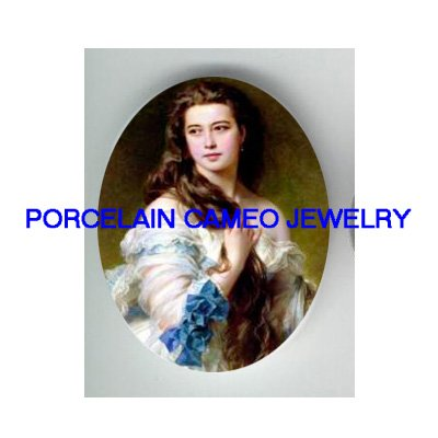 VICTORIAN LADY WITH BLUE RIBBON LACE DRESS * UNSET CAMEO PORCELAIN CABOCHON