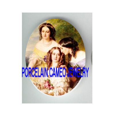 3 VICTORIAN SISTERS FRIENDS IN THE GARDEN * UNSET CAMEO PORCELAIN CABOCHON