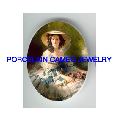 VICTORIAN LADY WITH ROSE BLUE RIBBON DRESS * UNSET CAMEO PORCELAIN CABOCHON