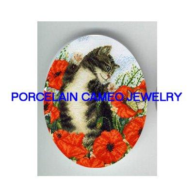 BLACK WHITE KITTY CAT BUTTERFLY POPPY PORCELAIN CAMEO