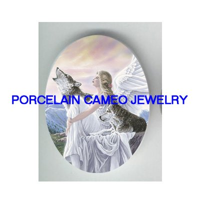 ANGEL WITH 2 GREY WOLF MOUNTAIN* UNSET CAMEO PORCELAIN CABOCHON
