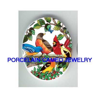 CARDINAL BLUEBIRD ROBIN COLLAGE BUTTERFLY  * UNSET CAMEO PORCELAIN CABOCHON