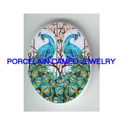 2 BLUE PEACOCK WITH DOGWOOD UNSET CAMEO PORCELAIN CABO