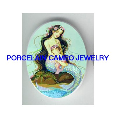 MERMAID MOM CUDDLING BABY UNSET CAMEO PORCELAIN CABO
