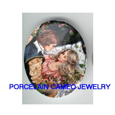 SLEEPING BEAUTY PRINCE ROSE* UNSET CAMEO PORCELAIN CABOCHON