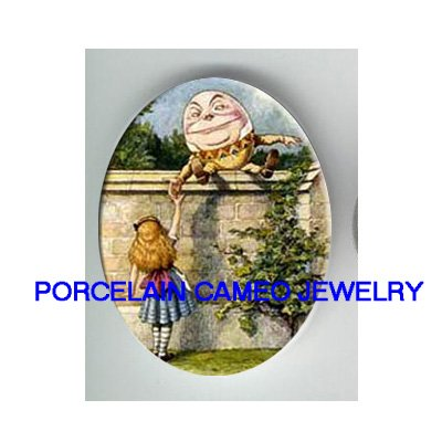 ALICE IN WONDERLAND HUMPTY DUMPTY * UNSET CAMEO PORCELAIN CABOCHON
