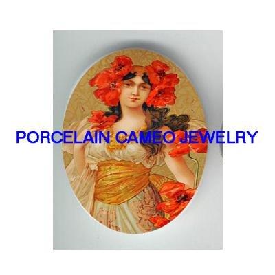 ART NOUVEAU POPPY LADY UNSET CAMEO PORCELAIN CABOCHON