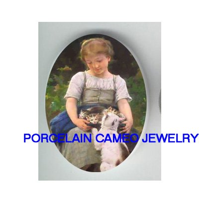 VICTORIAN GIRL PROTECT KITTY CAT FAMILY* UNSET CAMEO PORCELAIN CABOCHON