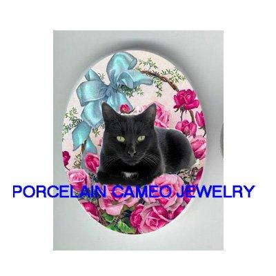 GREEN EYES BLACK CAT RIBBON ROSE UNSET* UNSET CAMEO PORCELAIN CABOCHON
